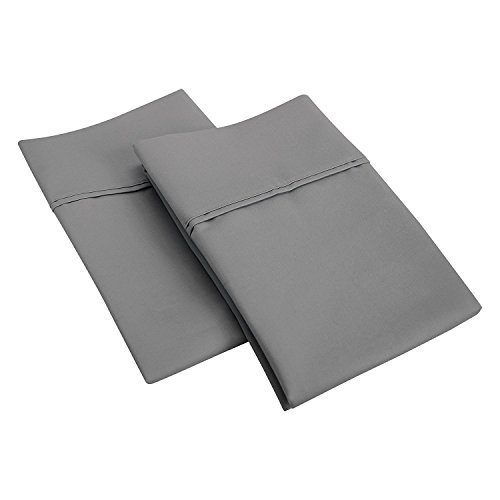 600 Thread Count 100% Egyptian Cotton Pillow Shams Standard Size 20X26 Dark Grey Solid (Pack of 2)
