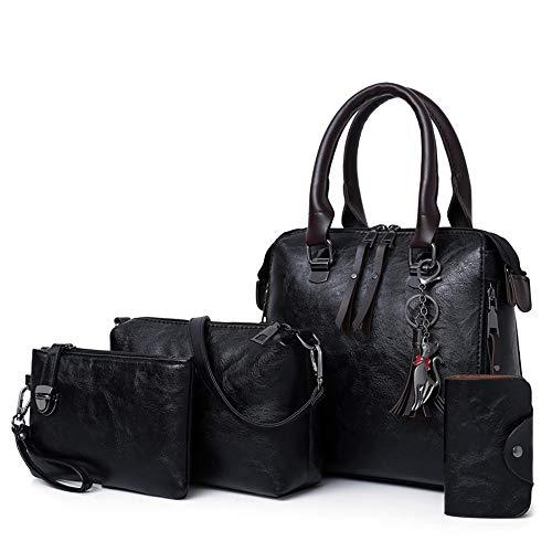 Portable Dames Épaule Uni Diagonale Fille Femme couleur Noir À Sac Mode Main De Gris Paquet Clair Kuqiwu Pu Simple Rv18zx7W