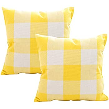 Retro Farmhouse Tartan Buffalo Checkers Set of 2 Decorative Plaid Throw Pillow Covers Cotton Linen Checkers Pillowcase for Home Sofa Bedroom Car, Yellow/White Plaids Cushion Cover, 18 x 18 inch