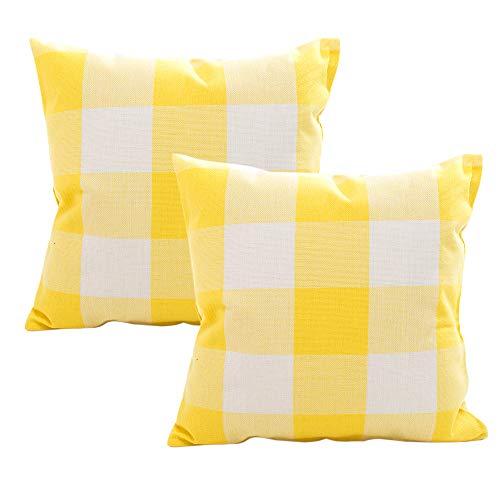(Retro Farmhouse Tartan Buffalo Checkers Set of 2 Decorative Plaid Throw Pillow Covers Cotton Linen Checkers Pillowcase for Home Sofa Bedroom Car, Yellow/White Plaids Cushion Cover, 18 x 18 inch)