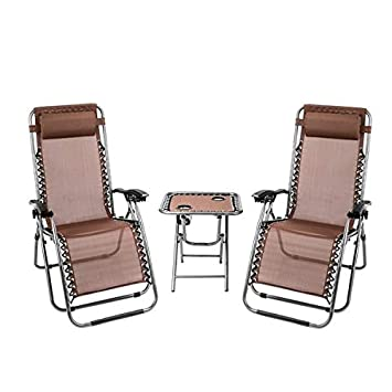 carsget 2PCS Comfortable Zero Gravity Recliner Padded Patio Lounge Chair Heavy Duty Adjustable Recliner with Portable Cup Holder Table Perfect for Outdoor Backyard Patio Beach Pool US Stock Brown