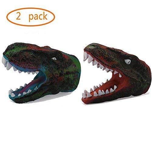 Dinosaur Gloves Claw Gloves Toy Tyrannosaurus Rex Children Costume Rubber Puppet Soft Animal Head Figure for Kids Boys - Red Green 2 Pack -