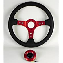 NRG Steering Wheel - 06 (Deep Dish) - 350mm (13.78 inches) - Black Leather with Red Spokes - Part # ST-006R-RD