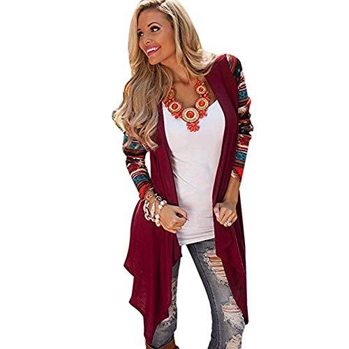 ZzZz Outwear Manteau Printemps Automne Hiver Femme Femmes Manche Longue Tricot Cardigan Outwear Pull Manteau Manteau en Maille  imprim gomtrique Rouge