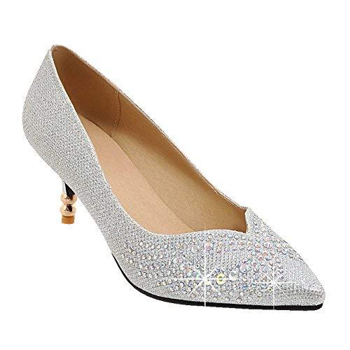 Latasa Women's Rhinestones Pointed Toe Kitten Heels Dress Pumps (8.5, Silver)]()