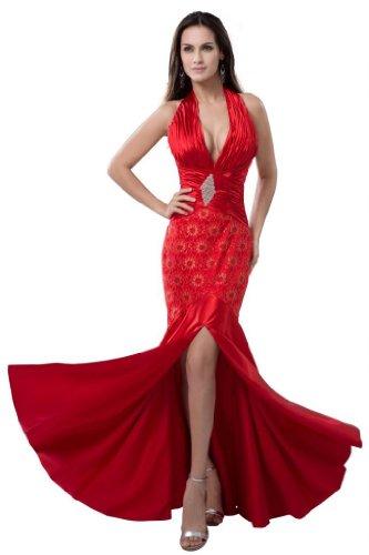 Orifashion para vestido de noche mujer Mermaid Rojo Rojo