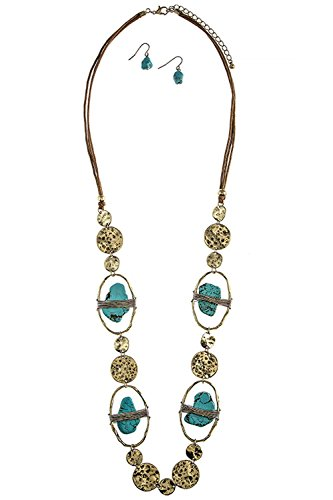 TRENDY FASHION JEWELRY MIXED FAUX STONE WIRE WRAPPED NECKLACE SET BY FASHION DESTINATION | (Gold/Turquoise)