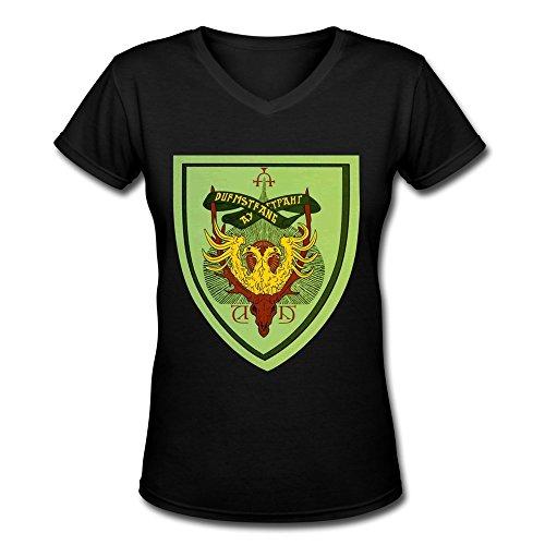 AOPO Harry Potter Durmstrang Institute Logo V-Neck Short Sleeve Tee Shirts For Women