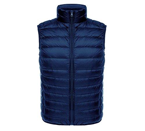 M Zipper XL Navy Vest Sleeveless Stand Lightweight Collar Thin Down Short up Men's Packable XXL L blue nqxfPwOCY