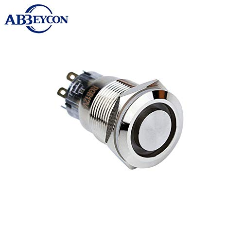 19mm On-Off Three Color RGB Ring Waterproof Latching Push Button Switch Flat Head Pin Terminal Angel Eye Illuminated Switch - (Color: Common Positive, Voltage: 12V)
