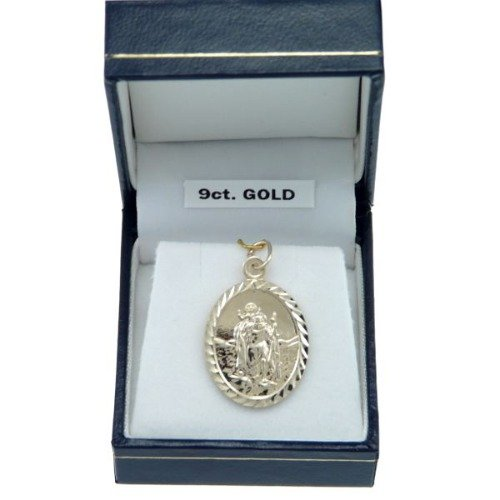 Or 9 Carats ovale St. Christopher médaille