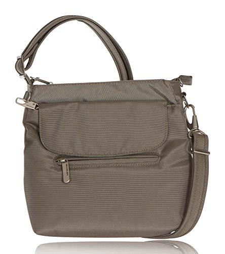 Travelon Anti-Theft Classic Mini Shoulder Bag (One Size, GREY w Leaf Print Lining) (Ipad Mini Shoulder Bag Mint)