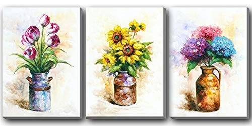 Hongwu Canvas Wall Art 3 Piece Vase Flowers Painting Canvas Prints Sunflower Tulip Hydrangea Floral in a Vase Pictures on Canvas Stretched for Home Wall Decor 12x16inch