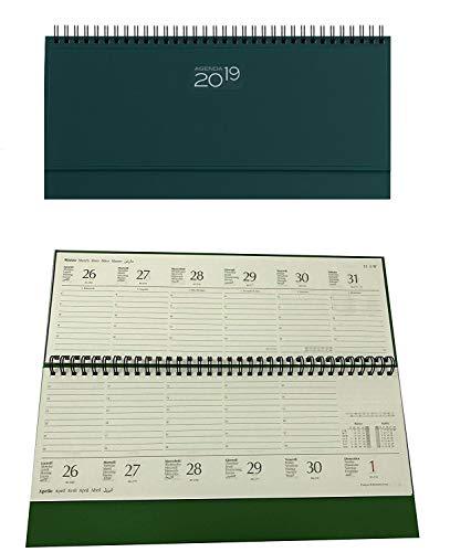 takestop® Planning de Mesa Agenda 2019 Verde Oscuro Semanal Espiral Diario 30 x 15 cm Diario Bloqueo Notes Tapa Rígida