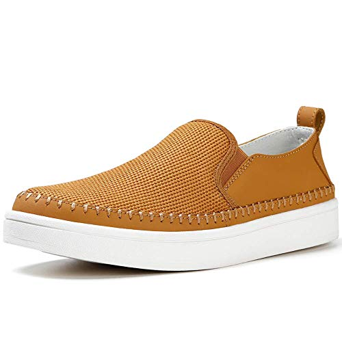 Tan Casual Loafers - Men's Summer Breathable Mesh Casual Walking Shoes Comfort Driving Loafers Slip Ons Flat Penny Boat Shoe Tan, 10.5 M US