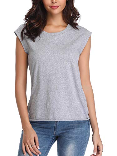 MSBASIC Gray Tank Top Basic Shirts Tank Blouses for Women Grey L ()