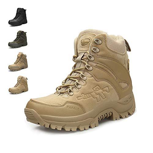 ENLEN&BENNA Men's Military Boots Tactical Boots Desert Boots Side Zipper Lightweight Composite Toe Waterproof Coyote