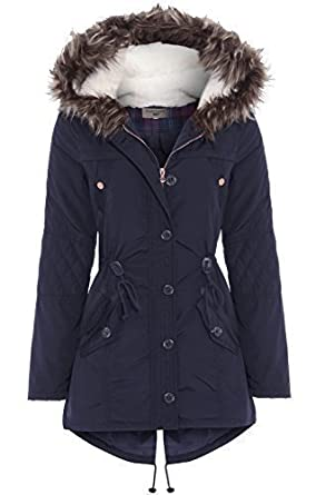 SS7 Women's Fur Hood Parka, Navy Blue, Sizes 8 to 16 (UK - 12 ...