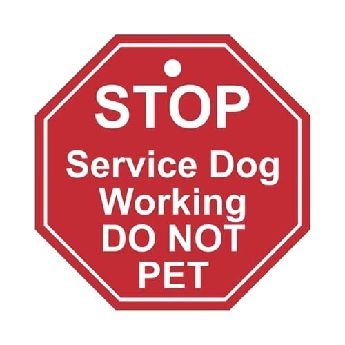 Stop - Service Dog Working DO NOT PET TAG (Medium to Large Dog) (Register My Dog As A Service Dog)