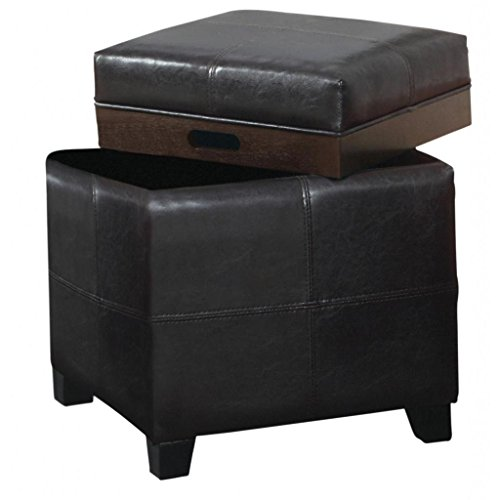 Single Piece Brown Square Shape Small Ottoman, Faux Leather Material, Solid Furniture Pattern, Contemporary Style, Storage Type, Assemble, For Living Room & Bedroom, Comfortable, Dark Brown