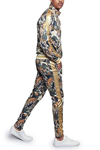 G-Style USA Royal Floral Tiger Track Suit ST559 - Off-White - X-Large - E4F (Usa Versace)