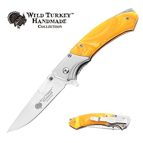 Wild Turkey Handmade Spring Assisted Two Tone Pearl Handle Folding Pocket Knife Hunting Camping Fishing Outdoors Lightning Fast Deployment - Razor Sharp Blade (Yellow)