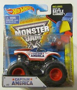 Hot Wheels Monster Jam Captain America Monster Truck with Battle Slammer 2015