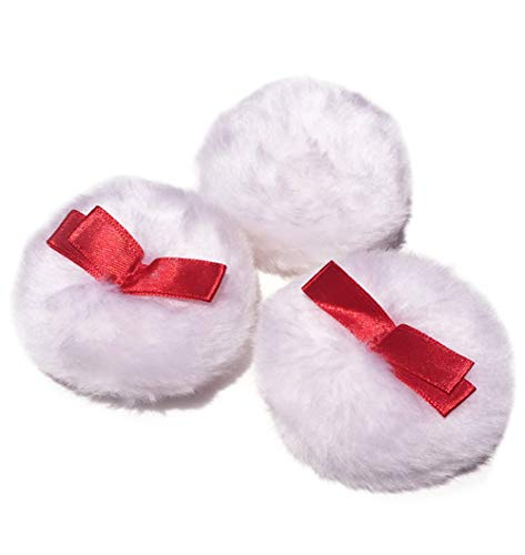 - 6Pcs White Round Soft Natural Velvet Plush Loose Powder Baby Talcum Powder Puff with Red Ribbon Handle Fluffy Pearl Powder Prickly Heat Powder Applicator Flutter Blender for Makeup Baby Skin Care