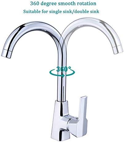 キッチン蛇口、360度スイベルスパウトキッチンのシンクの蛇口温水と冷水ミキサー、1つの穴シングルハンドルの蛇口さび止めのための近代的な鉛フリーコマーシャルバーシンクの蛇口のフィット