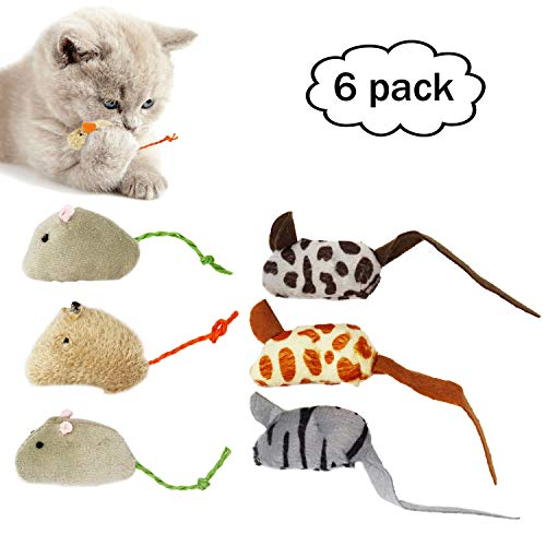 Cat Toys Fur Mice, Soft and Durable for Fun to Play with, Dummy Mouse Toy Mice for Kitten,6 Mice Toys per -