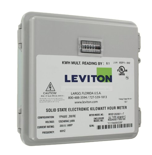 Leviton 6S201-D02 2PH, 3W, 240V, Small Outdoor Enclosure, 01 Installed Meter, Mechanical 1/10 KWH Counter, 200:0.1, Grey