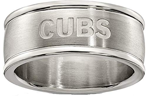 (MLB Chicago Cubs CHICAGO CUBS LOGOART STAINLESS STEEL LOGO BAND RING SIZE 6 Size One Size)