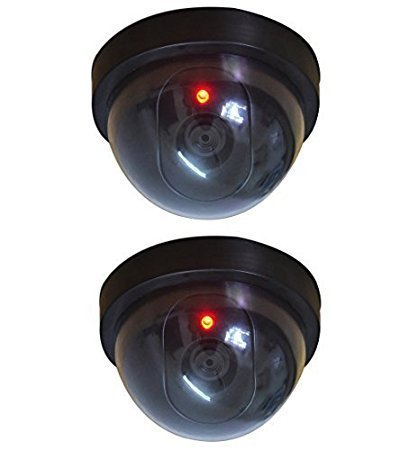 Birud Dummy CCTV Dome Camera with Blinking Red LED Light for Home or Office Security(Pack of 2)