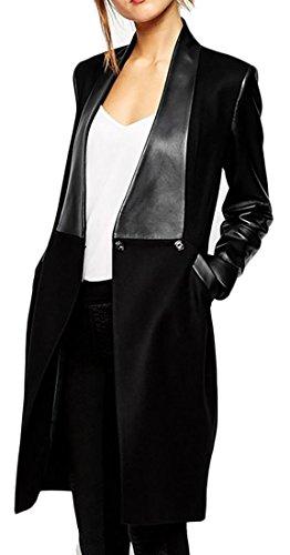 Knee Length Leather Coat - 2