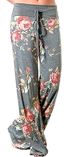 (Sexymee Women's Pajamas Comfy Pajama Lounge Pants Floral Print Drawstring Wide Leg Palazzo Pants,Light Grey,X-Large)