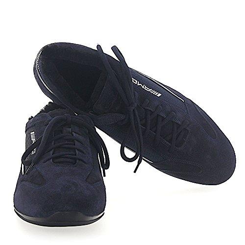 Santoni Sneaker 20523 Amg In Pelle Scamosciata Blu Scuro Pelle Di Agnello