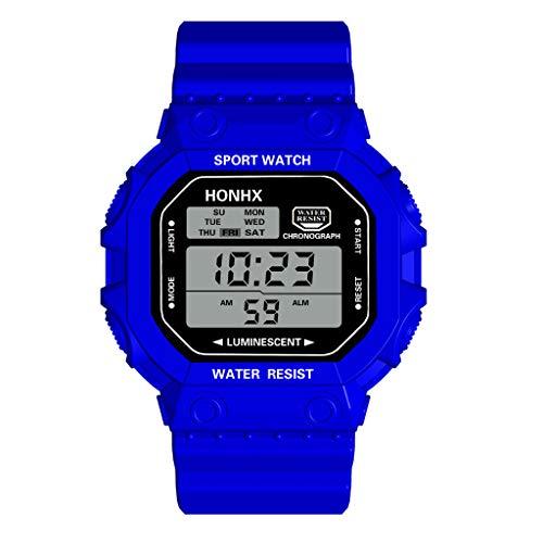 Sports Watch,Multi Function Alarm Clock Calendar Waterproof Sports Electronic Watch(Blue) ()
