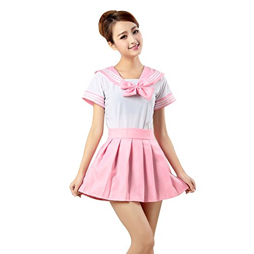 LSERVER Japanese Anime Classice Cute Sailor Suit Short Sleeve Students Uniform Set Costume For Girl Women Pink