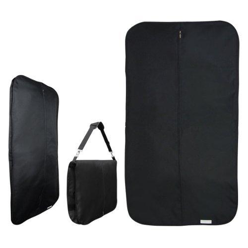 HANGERWORLD 44inch Black Heavy Duty Waterproof Nylon Travel Garment Suit Coat Protector Carry Cover - 42 Garment Deluxe Bag
