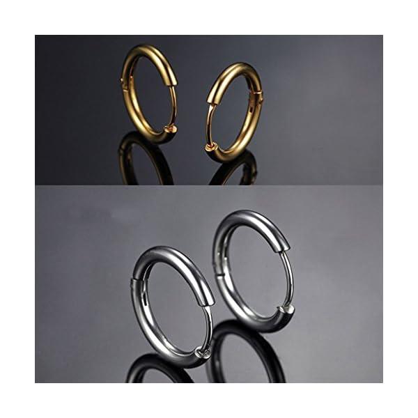 4 paia cerchio orecchini, orecchini in acciaio inossidabile 4 colori diversi per orecchini da donna e uomo Orecchini a lobo con traforo Orecchini a lobo traforato 12MM
