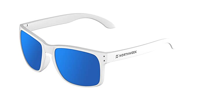 NORTHWEEK Bold Gafas de sol, Matte White/Blue Polarized, 45 ...