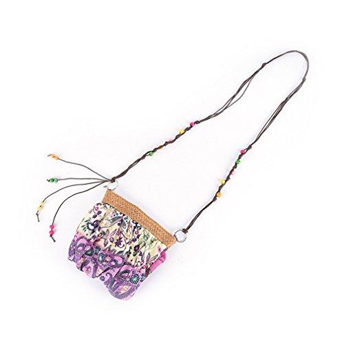 Beach Straw Weave Boho Amuele Bag Purple Bohemia 5Colors Cloth Messenger Crossbody Handbag Strap dWfannx0B