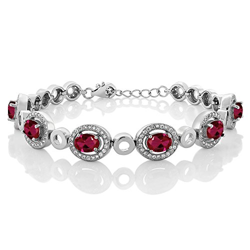 Gem Stone King 7.55 Ct Oval Red Created Ruby 925 Sterling Silver Bracelet 7inches + 1inches Extender ()