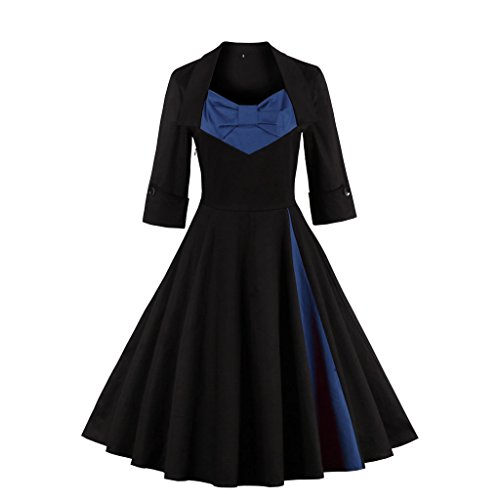 DISSA 50er M1323 46 EU 3XL Cocktail Vintage Retro Kleid Rockabilly Damen Blau rFrqH