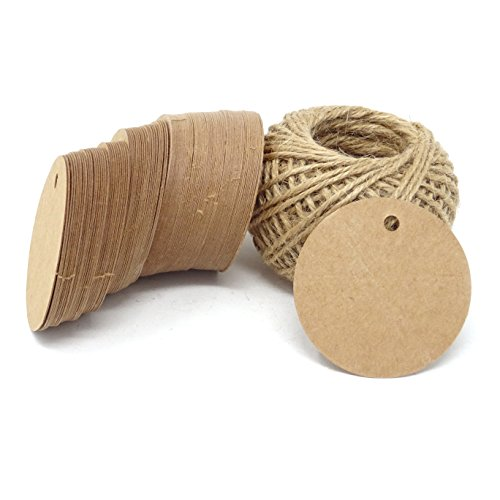 Round Twine (Honbay 100PCS Kraft Paper Blank Round Tags with 100 Feet Jute Twine for Wedding, Party, Christmas, Gifts, DIY Crafts, etc)