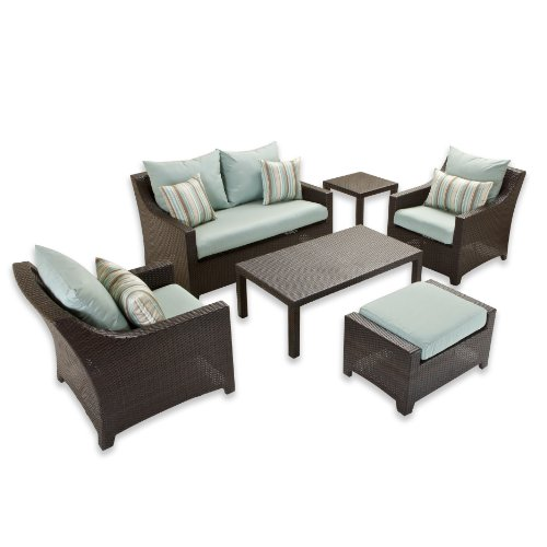 RST Brands OP-PEOSS6-BLS-K Deco 6pc Love & Club Seating Set - Bliss (Rst Set Patio Outdoor)
