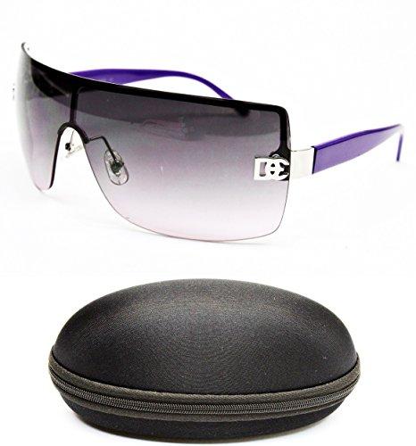(D1008-CC Designer Eyewear Shield Rimless Sunglasses (12 Silver/Purple, smoked))