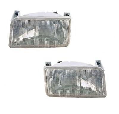 92 93 94 95 96 Ford F150 F250 F350 Headlight Headlamp Pair Set 92-96 Bronco Driver and Passenger