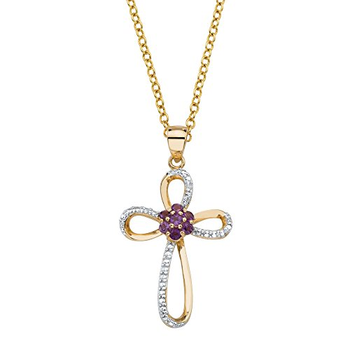 14k Purple Cross - Palm Beach Jewelry Genuine Purple Amethyst 14k Gold Over .925 Silver Cross Pendant Necklace 18