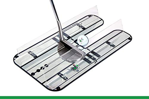 Golf Training Aid, Putting Set - XL Alignment Mirror Design with Our Exclusive Clear Adjustable Guide Rails ''True Line Putting Mirror'' - Leading Practice Aid for On-Line, Consistent Putting Stroke by GOLF4 YOU THE WORLD OF GOLF